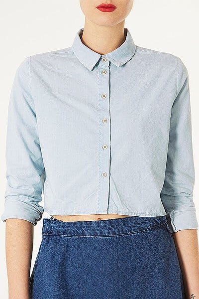 Topshop MOTO Bleach Crop Denim Shirt