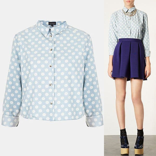 Topshop Moto Polka Dot Crop Shirt