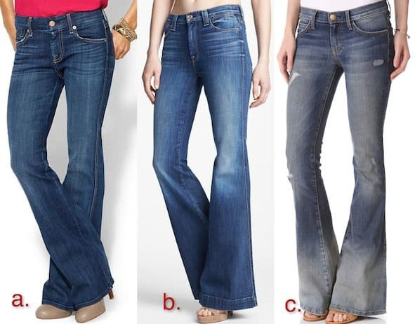 Bohemian style flared denim jeans