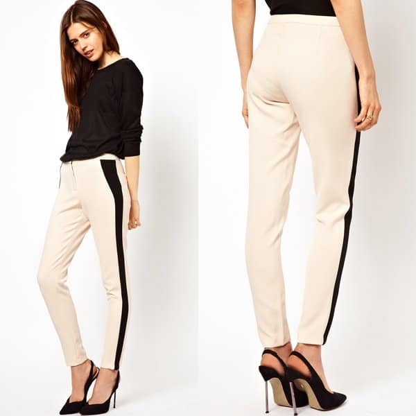ASOS Tailored Trousers With Contrast Panel