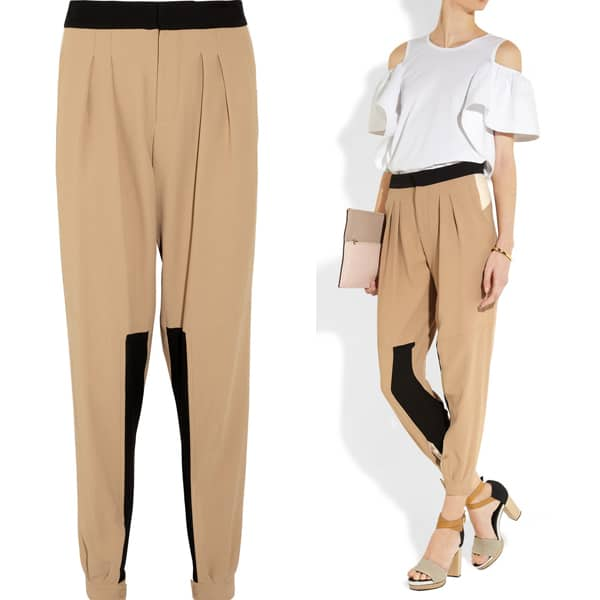 Chloé Paneled Crepe Tapered Pants