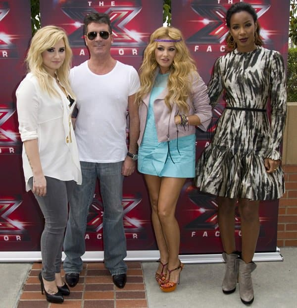 Demi Lovato, Simon Cowell, Paulina Rubio, and Kelly Rowland at Fox's The X Factor auditions at the Galen Center in Los Angeles on July 11, 2013
