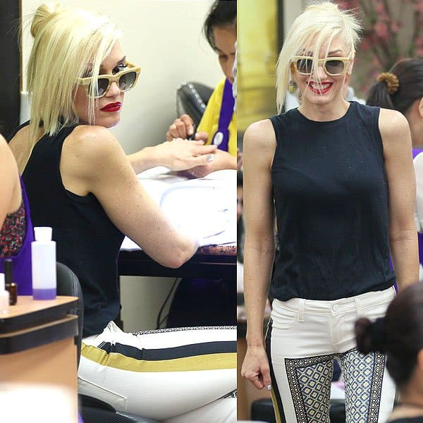 Gwen Stefani getting her nails done at a nail salon in Beverly Hills, California, on July 12, 2013