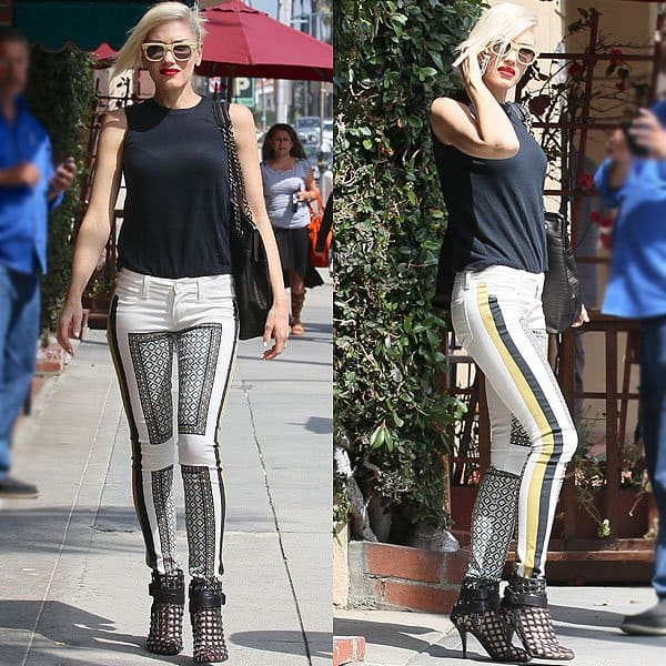 Gwen Stefani looking cool in a pair of Givenchy cage ankle booties while heading to a nail salon in Beverly Hills in Los Angeles, California, on July 12, 2013