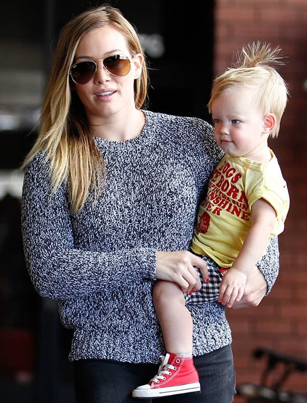 Hilary Duff and son Luca spotted going to their Mommy and Me class in Los Angeles on June 26, 2013