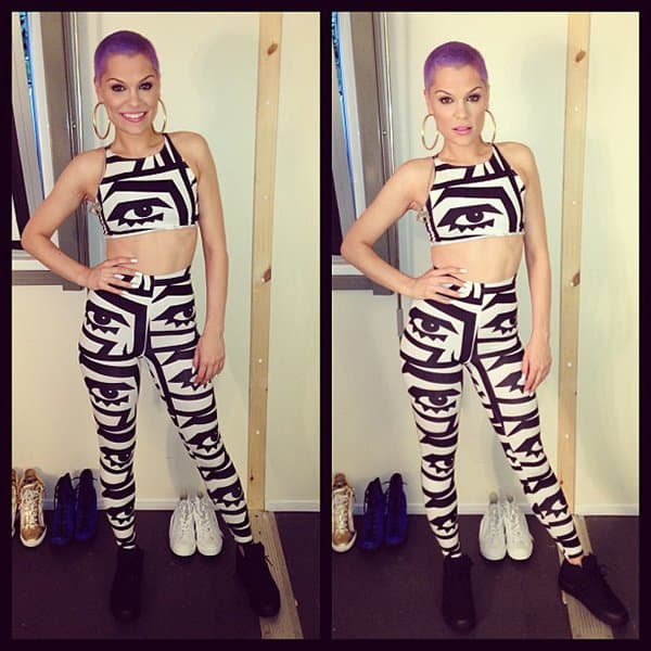 Jessie sported a black-and-white outfit featuring eye-catching prints