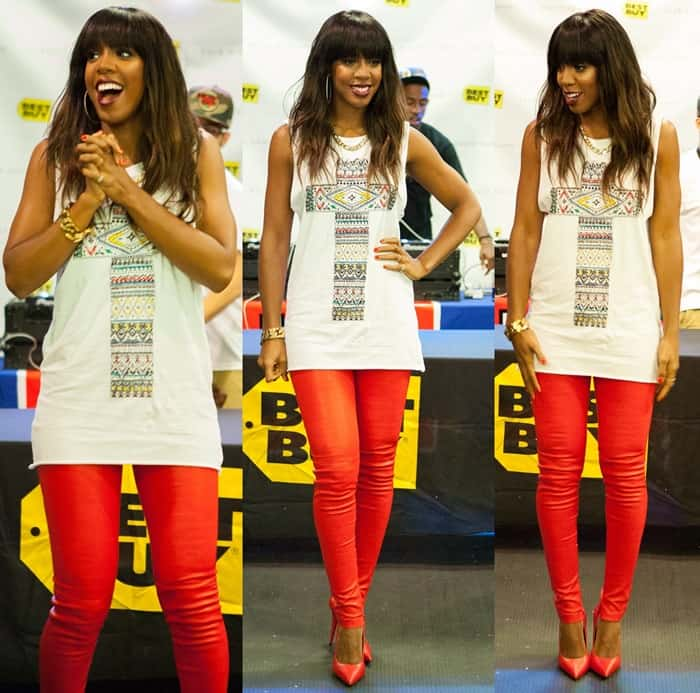 Kelly Rowland showed her knack for street style with this muscle tee plus red pants combo