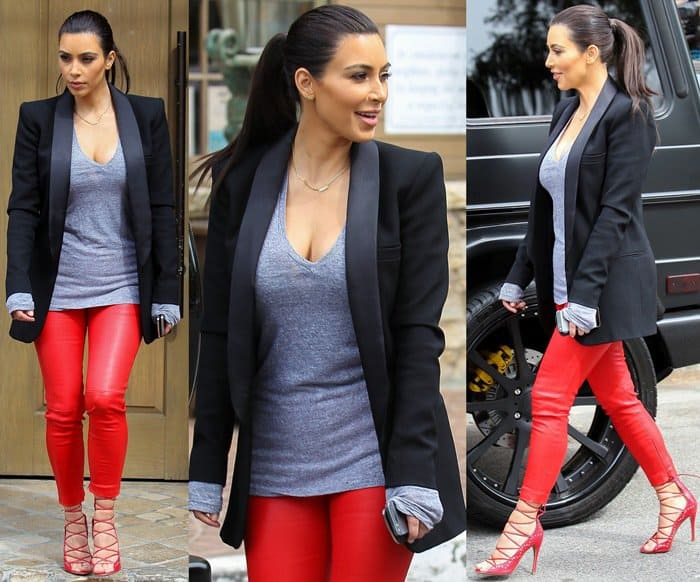 Kim wearing Balenciaga leather pants with a black Faith Connexion tuxedo blazer