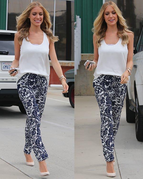 Kristin Cavallari wearing Intermix Silk Paisley Print Pants