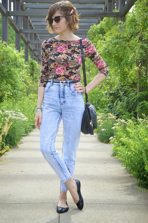 Lauren wore her mom jeans with a vintage floral shirt