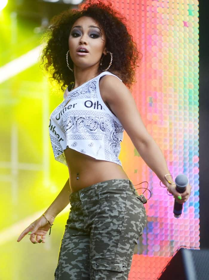 Leigh-Anne Pinnock performing with her group, Little Mix, at North East Live in Sunderland