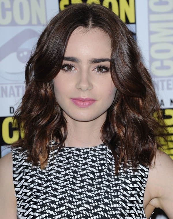 Lily Collins at the panel for 'The Mortal Instruments: City of Bones' at Comic-Con International 2013 (day 2) in San Diego on July 19, 2013