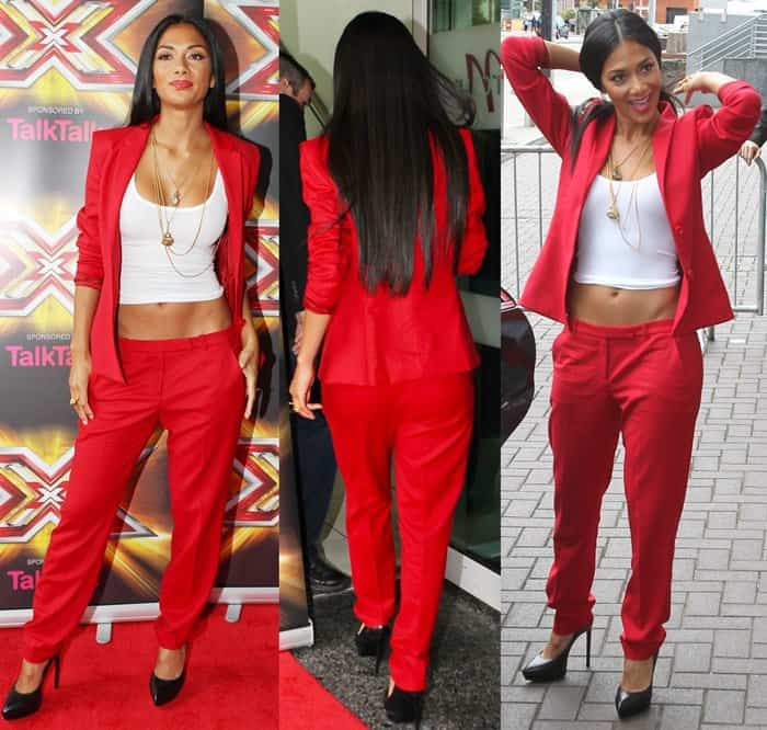 Nicole Scherzinger wearing bright red Hugo Boss pants