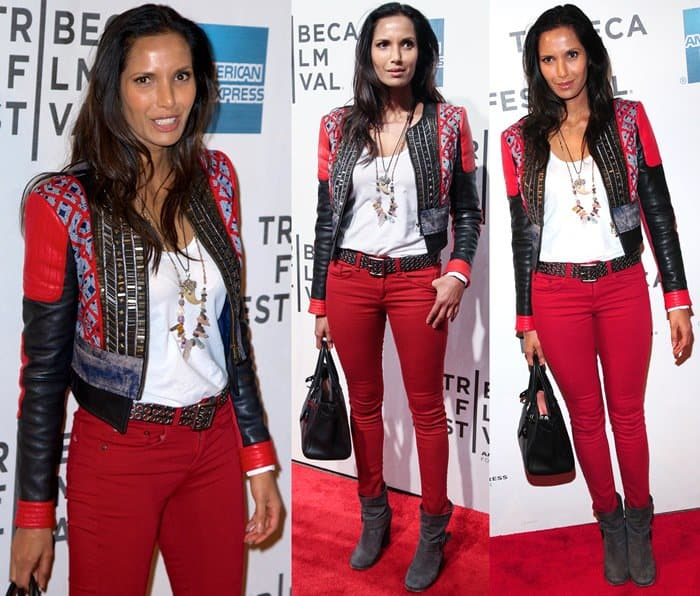 Padma Lakshmi in a printed jacket with red pants