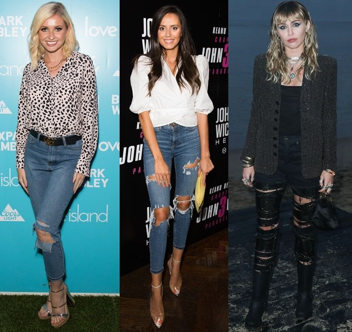 Amy Hart, Tyla Carr, and Miley Cyrus showing how to wear ripped jeans