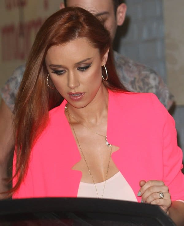 Una Healy arrives with The Saturdays at the ITV studios