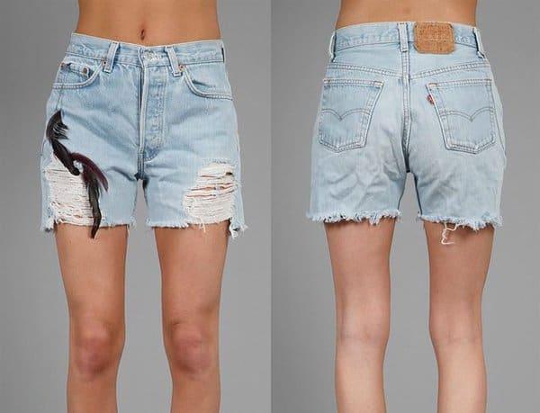 WGACA Vintage Denim Destroyed feather Shorts in Denim Destroyed