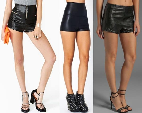 Midnight Rocker Shorts / High-Waisted Faux Leather Shorts / BLANKNYC Vegan Leather Shorts