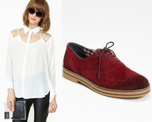 "Space Between Blouse in White / BP. ""Caden"" Oxfords in Burgundy Suede"