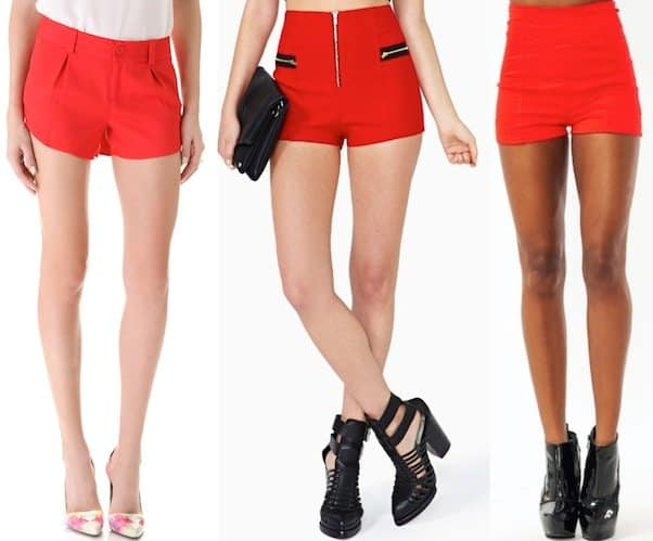"Alice + Olivia ""Butterfly"" Shorts in Cherry / Follow Me Shorts in Red / High-Waisted Shorts in Red"