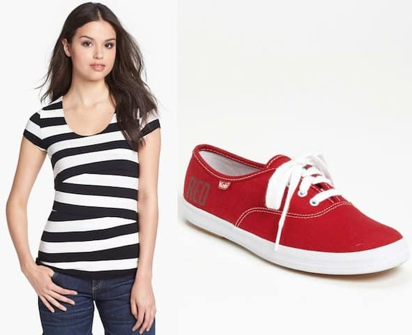 "Vince Camuto Stripe Bandage Top in Rich Black / Keds ""Taylor Swift RED"" Champion Sneakers in Red"