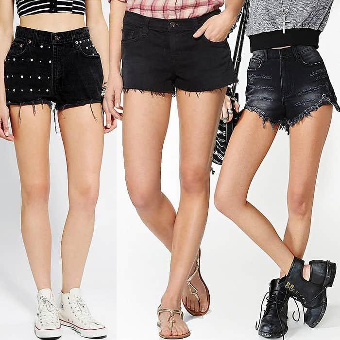 Black cutoff shorts