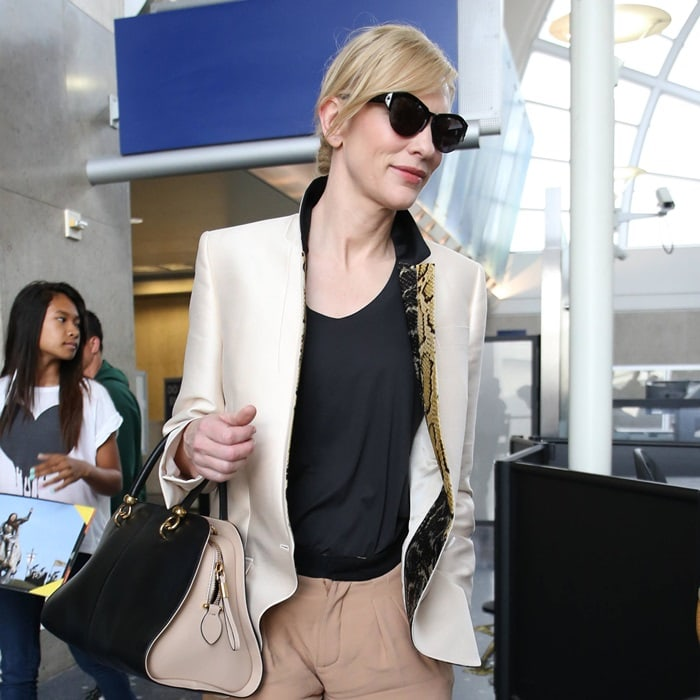 0f36c4e679 Cate Blanchett wearing a gorgeous Stella McCartney blazer at LAX in Los  Angeles on July 24