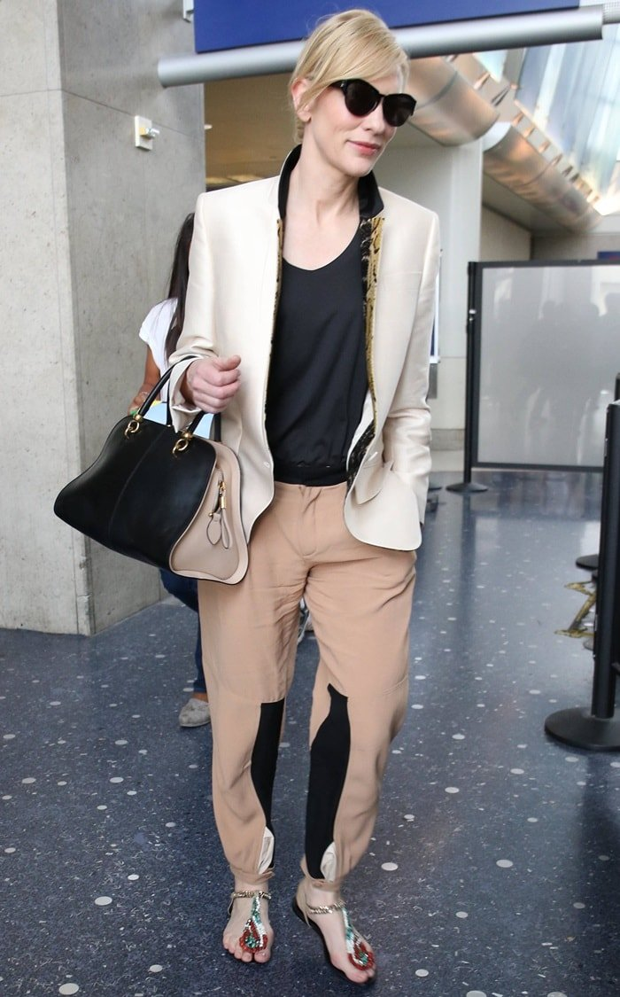 Cate Blanchett wearing Chloé paneled crepe tapered pants
