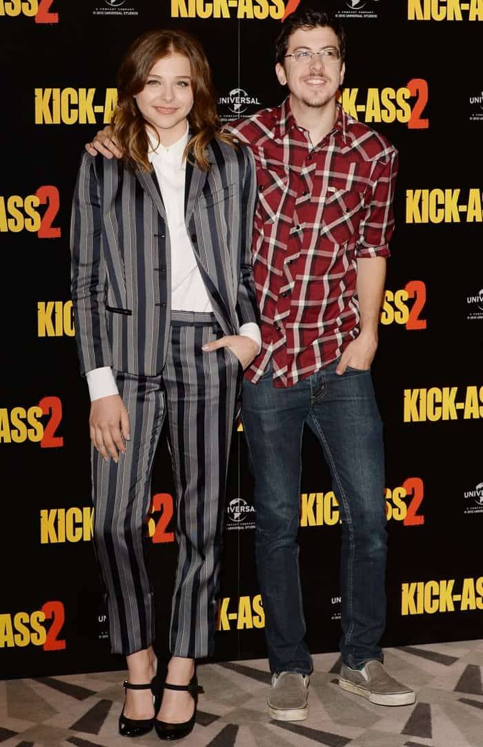 Actors Christopher Mintz Plasse and Chloe Grace Moretz attend the 'Kick-Ass 2' photo call at Claridges Hotel on August 5, 2013 in London, England