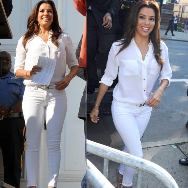 Eva Longoria rocks white Henry & Belle Ideal ankle skinny jeans