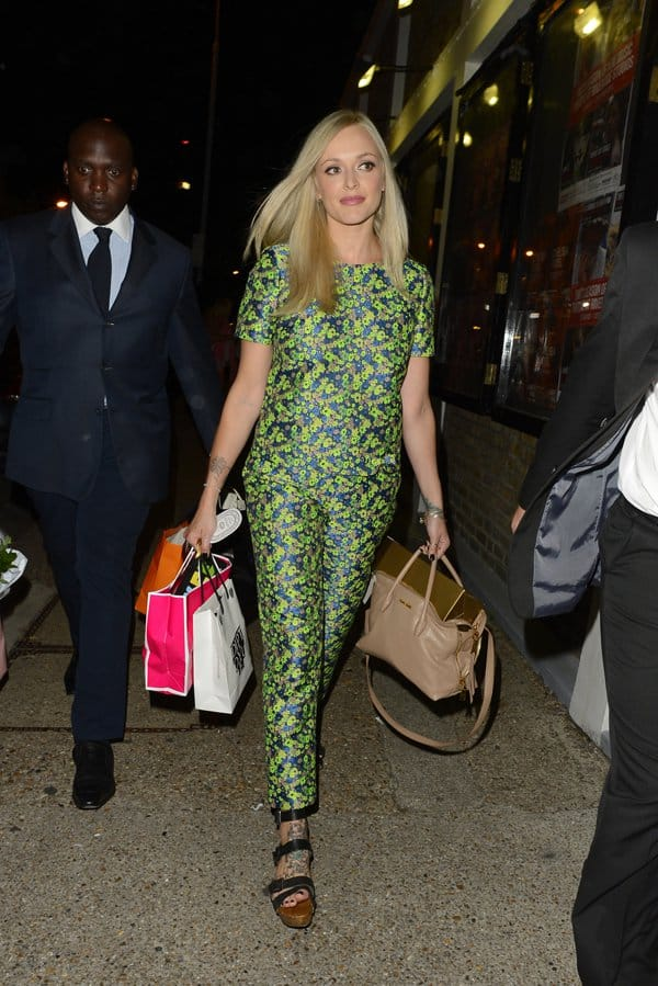 Fearne Cotton was a sight to behold in matching printed top and cropped pants that she paired with platform sandals