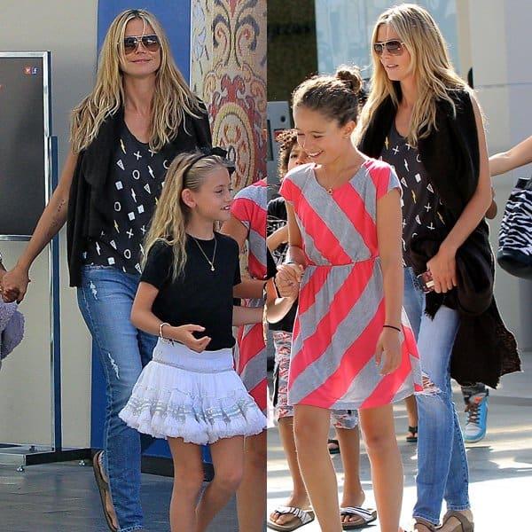 Heidi Klum with her children and boyfriend Martin Kristen at the Westfield Century City movie theater in Los Angeles on August 4, 2013