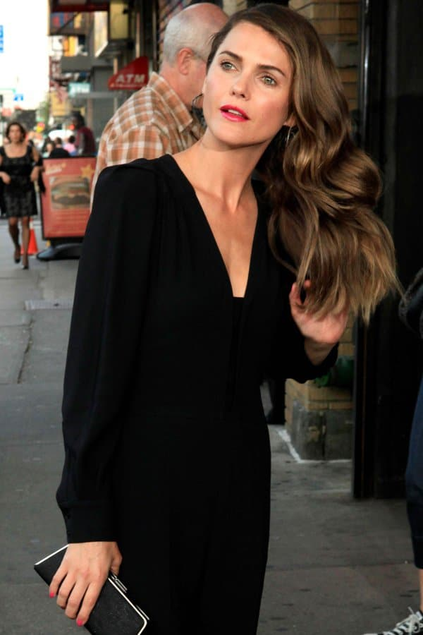 Keri Russell looking oh-so-put-together in a sleek Stella McCartney jumpsuit