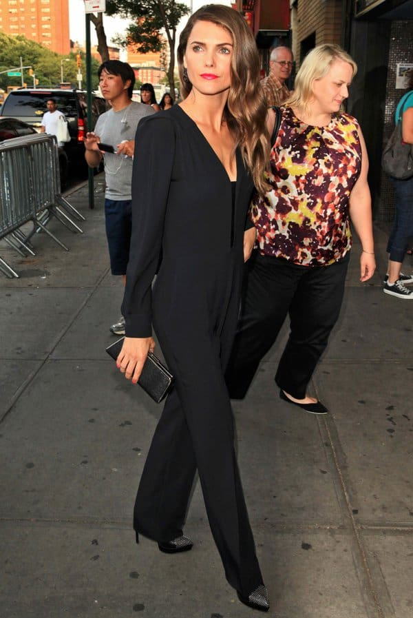 Keri Russell wearing a stretch-srepe jumpsuit at the New York screening of 'Austenland' sponsored by The Cinema Society and Alice + Oliviaat the Landmark Sunshine Cinema in New York on August 12, 2013