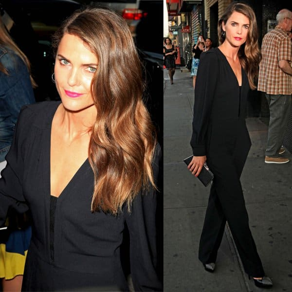 Keri Russell put a little fun into her all-business look by slipping into a pair of studded 'Janis' YSL pumps