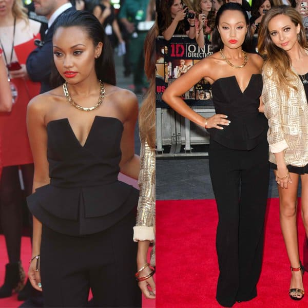 Leigh-Anne Pinnock decided to go for an all-black ensemble adorned with gold accessories