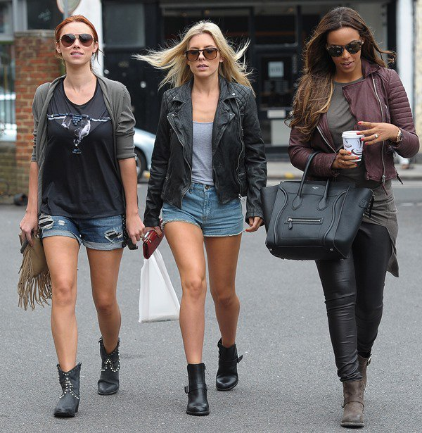 Mollie King, Rochelle Humes and Una Healy of The Saturdays grabbing some lunch at a cafe in London on August 16, 2013
