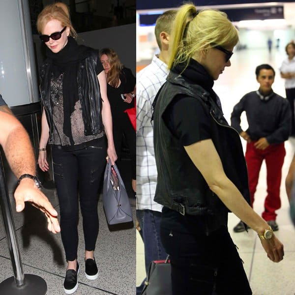 How to pull off a pair of zippered black denims and leather like Nicole Kidman