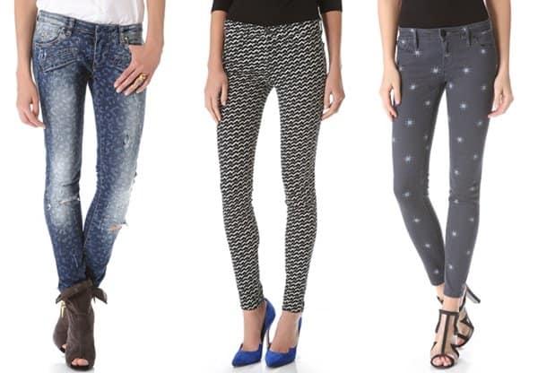 Star Printed Skinny Jeans