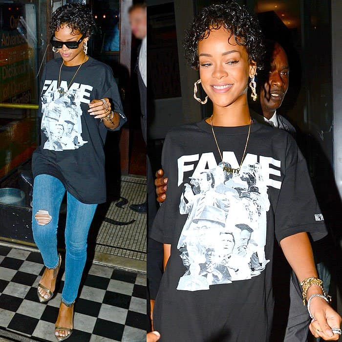Rihanna was in her usual streetwear getup styled with possibly the most normal-looking jeans we've seen her wear in a while