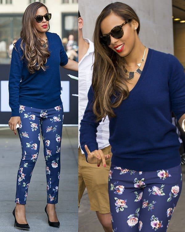 Rochelle Humes looked pretty chic in a cool blue ensemble, which included a navy sweatshirt, a pair of black pumps, and floral pants