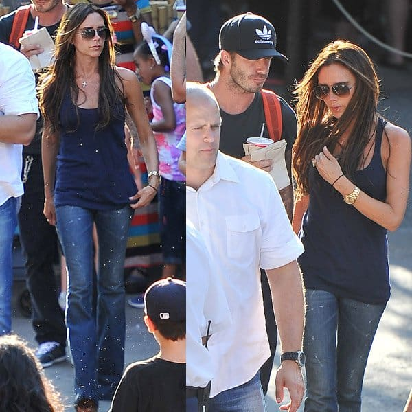 Victoria Beckham rocks blue flare jeans with a black top