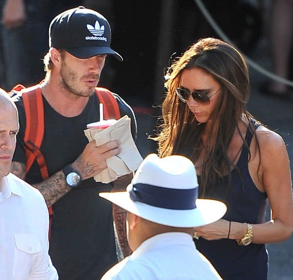 Victoria Beckham with her husband David in Disneyland