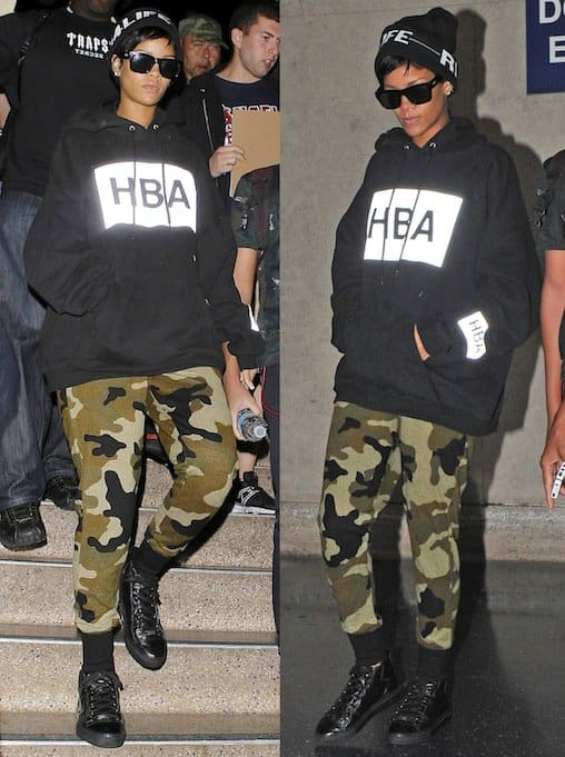 Rihanna paired an oversized black hoodie by Hood by Air with camo-printed sweatpants