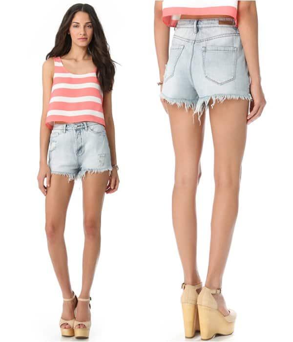 Blank Denim Distressed High-Rise Cutoff Shorts
