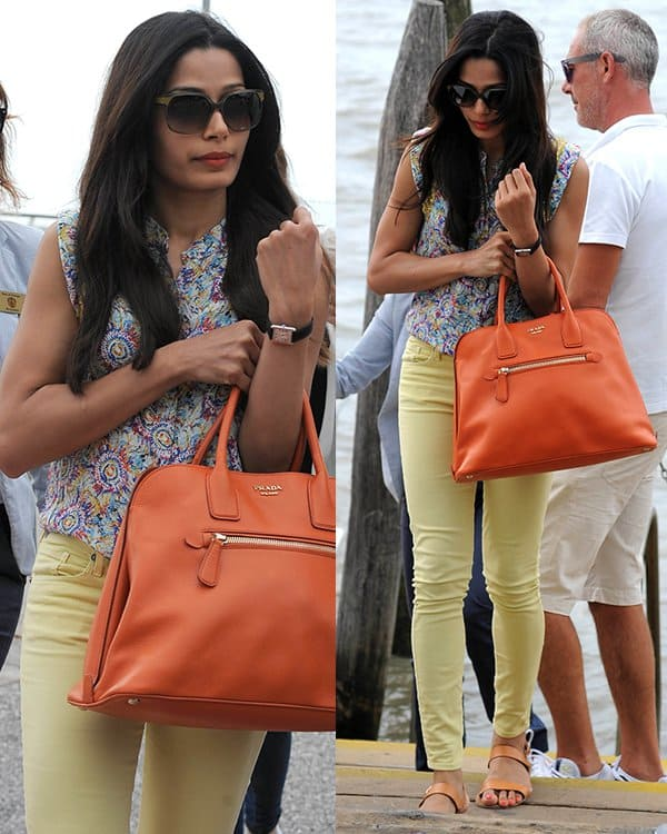 Freida Pinto leaving Venice, Italy, in canary yellow jeans on September 1, 2013