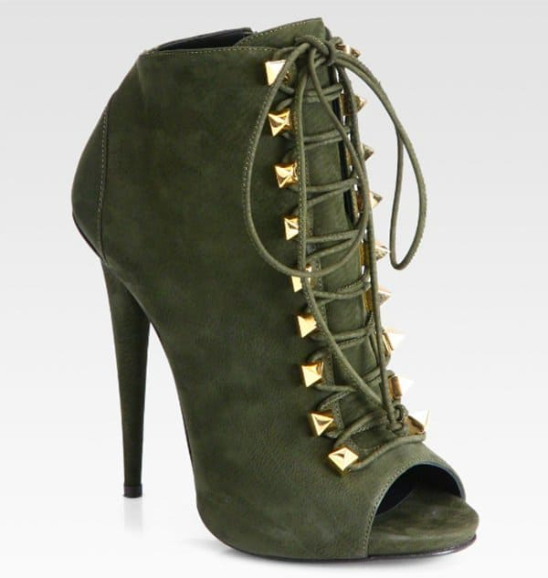 Giuseppe Zanotti Suede Lace-Up Ankle Boots in Olive