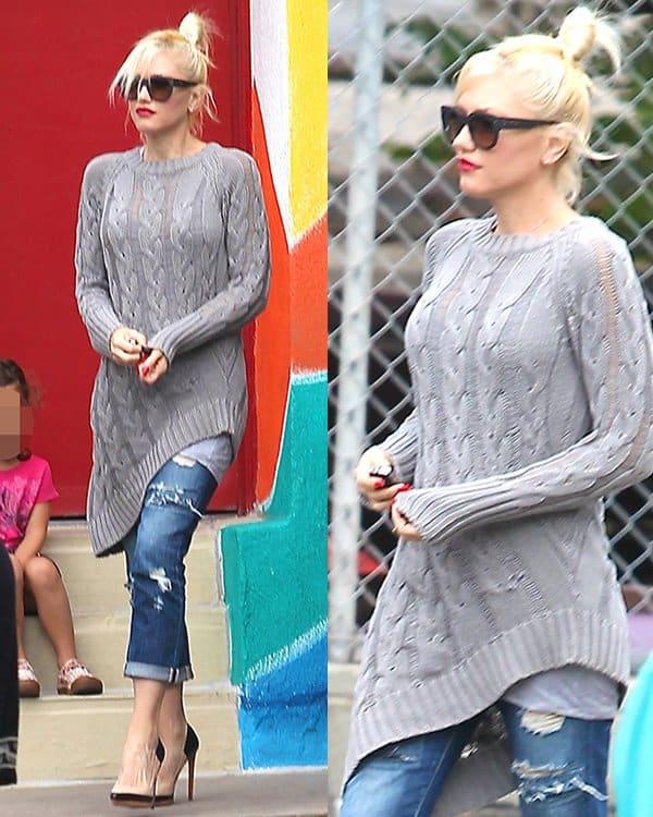 Wearing shredded, ragged boyfriend jeans, Gwen Stefani leaves her son's school in Los Angeles