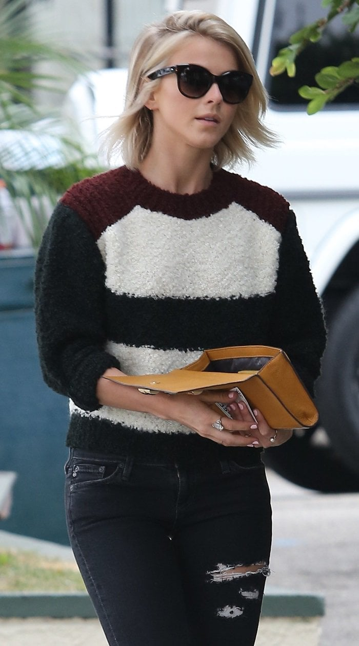 Julianne Hough's ecru-and-burgundy mohair-and-wool blend Owell sweater from Isabel Marant