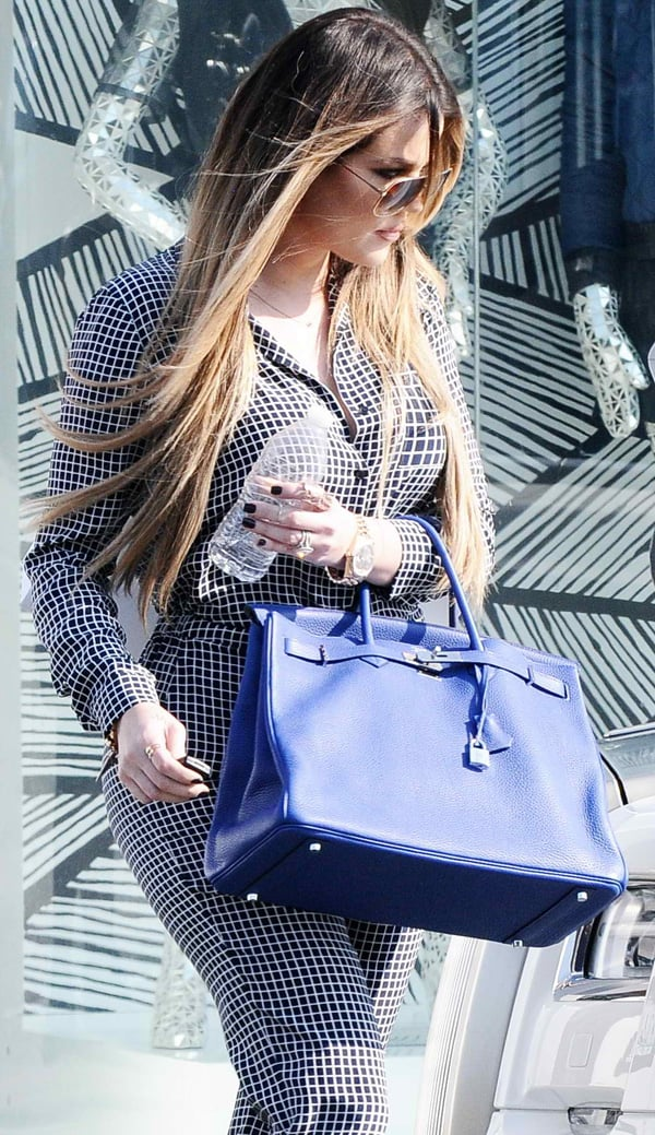 Khloé Kardashian filming her reality television show 'Keeping Up with the Kardashians' on Melrose Avenue in Los Angeles on September 9, 2013